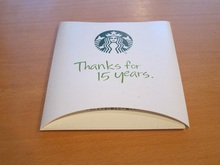 Thanks for 15 years STARBUCKS